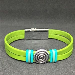 """Jewelry - 7.5"""" Lime Green Leather Bracelet w/Magnetic Clasp"""